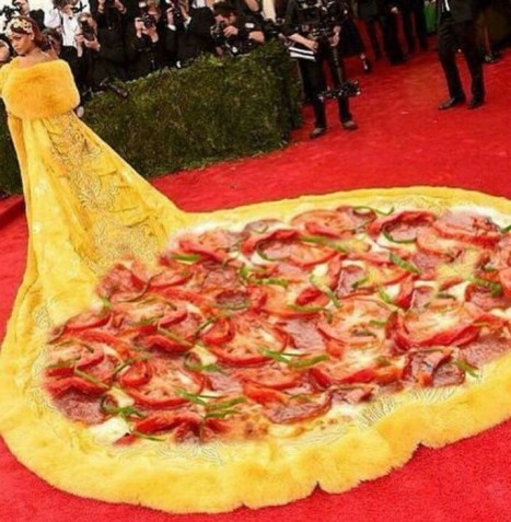 mgluxurynews Rihanna Met Gala Pizza Dress