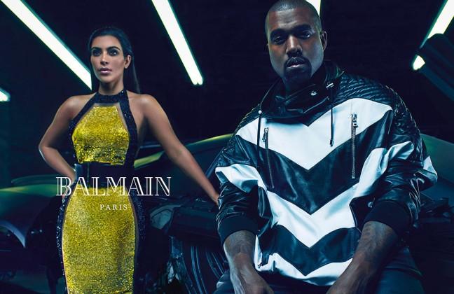 mgluxurynews Kim Kardashian & Kainye West for Balmain